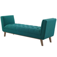 Haven Tufted Button Upholstered Fabric Accent Bench, Fabric, Aqua Blue, 17260