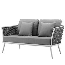 Stance Outdoor Patio Aluminum Loveseat, Aluminum Fabric, White Grey Gray, 17262