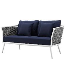 Stance Outdoor Patio Aluminum Loveseat, Aluminum Fabric, Navy Blue White, 17263