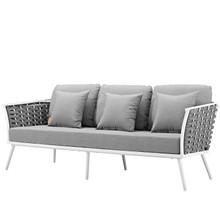 Stance Outdoor Patio Aluminum Sofa, Fabric Aluminum, White Grey Gray, 17264