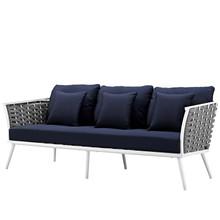 Stance Outdoor Patio Aluminum Sofa, Fabric Aluminum, Navy Blue White, 17265