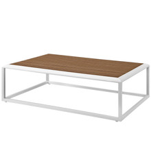 Stance Outdoor Patio Aluminum Coffee Table, Aluminum Faux Wood, White Natural, 17266