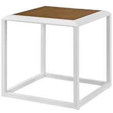 Stance Outdoor Patio Aluminum Side Table, Aluminum Faux Wood, White Natural, 17267