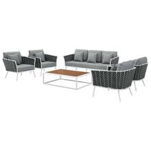 Stance 6 Piece Outdoor Patio Aluminum Sectional Sofa Set, Aluminum Fabric, White Grey Gray, 17283