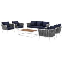 Stance 6 Piece Outdoor Patio Aluminum Sectional Sofa Set, Aluminum Fabric, Navy Blue White, 17284
