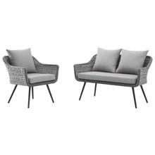 Endeavor 2 Piece Outdoor Patio Wicker Rattan Sectional Sofa Set, Aluminum Fabric Wicker Rattan, Grey Gray, 17285