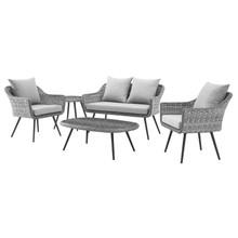 Endeavor 5 Piece Outdoor Patio Wicker Rattan Sectional Sofa Set, Aluminum Fabric Wicker Rattan, Grey Gray, 17288