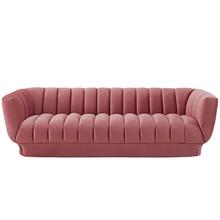 Entertain Vertical Channel Tufted Performance Velvet Sofa, Velvet Fabric, Pink, 17297
