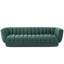Entertain Vertical Channel Tufted Performance Velvet Sofa, Velvet Fabric, Green, 17298