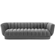 Entertain Vertical Channel Tufted Performance Velvet Sofa, Velvet Fabric, Grey Gray, 17299