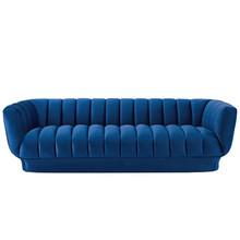 Entertain Vertical Channel Tufted Performance Velvet Sofa, Velvet Fabric, Navy Blue, 17300