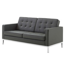 Loft Tufted Button Upholstered Faux Leather Loveseat, Faux Vinyl Leather, Grey Gray Silver, 17325