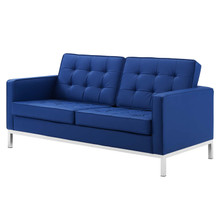 Loft Tufted Button Upholstered Faux Leather Loveseat, Faux Vinyl Leather, Navy Blue Silver, 17326