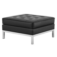 Loft Tufted Button Upholstered Faux Leather Ottoman, Faux Vinyl Leather, Black Silver, 17338