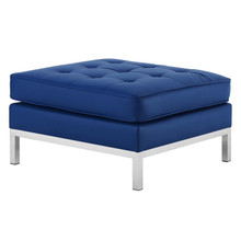 Loft Tufted Button Upholstered Faux Leather Ottoman, Faux Vinyl Leather, Navy Blue Silver, 17340