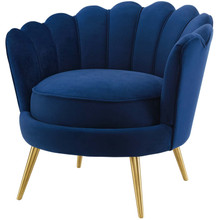 Admire Scalloped Edge Performance Velvet Accent Armchair, Velvet Fabric Metal Steel, Navy Blue, 17363