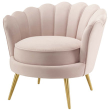Admire Scalloped Edge Performance Velvet Accent Armchair, Velvet Fabric Metal Steel, Pink, 17364
