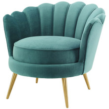 Admire Scalloped Edge Performance Velvet Accent Armchair, Velvet Fabric Metal Steel, Aqua Blue, 17365
