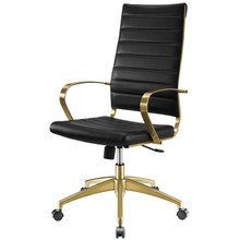 Jive Gold Stainless Steel Highback Office Chair, Faux Vinyl Leather Aluminum, Gold Black, 17384