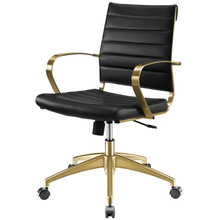 Jive Gold Stainless Steel Midback Office Chair, Faux Vinyl Leather Aluminum, Gold Black, 17386