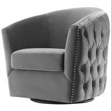 Rogue Swivel Performance Velvet Armchair, Velvet Fabric, Grey Gray, 17391
