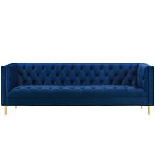 Delight Tufted Button Performance Velvet Sofa, Velvet Fabric Metal Steel, Navy Blue, 17407
