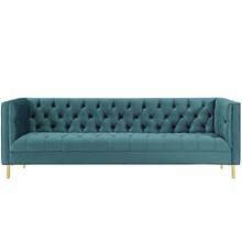 Delight Tufted Button Performance Velvet Sofa, Velvet Fabric Metal Steel, Blue, 17408