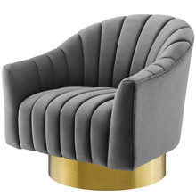 Buoyant Vertical Channel Tufted Accent Lounge Performance Velvet Swivel Chair, Velvet Fabric Metal Steel, Grey Gray, 17420