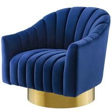 Buoyant Vertical Channel Tufted Accent Lounge Performance Velvet Swivel Chair, Velvet Fabric Metal Steel, Navy Blue, 17421