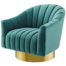 Buoyant Vertical Channel Tufted Accent Lounge Performance Velvet Swivel Chair, Velvet Fabric Metal Steel, Aqua Blue, 17422