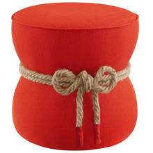 Beat Nautical Rope Upholstered Fabric Ottoman, Fabric, Orange Red, 17427