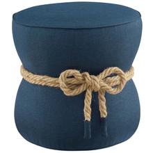 Beat Nautical Rope Upholstered Fabric Ottoman, Fabric, Blue, 17428