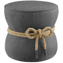 Beat Nautical Rope Upholstered Fabric Ottoman, Fabric, Grey Gray, 17429
