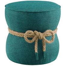 Beat Nautical Rope Upholstered Fabric Ottoman, Fabric, Aqua Blue, 17430