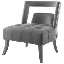 Honor Accent Lounge Performance Velvet Armchair, Velvet Fabric, Grey Gray, 17440