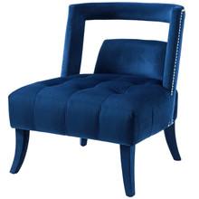 Honor Accent Lounge Performance Velvet Armchair, Velvet Fabric, Navy Blue, 17441