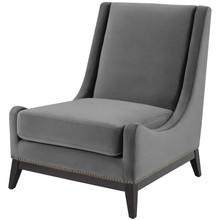 Confident Accent Upholstered Performance Velvet Lounge Chair, Velvet Fabric, Grey Gray, 17447