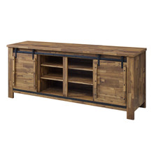 "Cheshire 70"" Rustic Sliding Door Buffet Table Sideboard, Wood Steel Metal, Natural Walnut Brown, 17449"