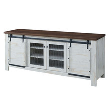 "Bennington 70"" Rustic Sliding Door Buffet Table Sideboard, Wood Metal Steel, White, 17450"