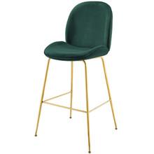 Scoop Gold Stainless Steel Leg Performance Velvet Bar Stool, Velvet Fabric Metal Steel, Green, 17509