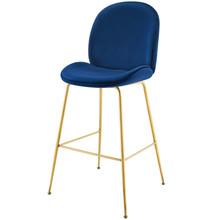 Scoop Gold Stainless Steel Leg Performance Velvet Bar Stool, Velvet Fabric Metal Steel, Navy Blue, 17511