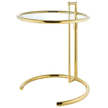 Eileen Gold Stainless Steel End Table, Glass Metal Steel, Gold, 17513