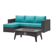 Convene 3 Piece Set Outdoor Patio with Fire Pit, Fabric Rattan Wicker, Blue, 17596