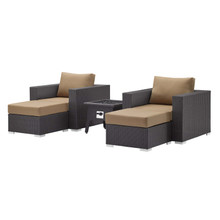 Convene 5 Piece Set Outdoor Patio with Fire Pit, Fabric Rattan Wicker, Light Brown, 17604