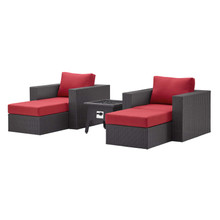 Convene 5 Piece Set Outdoor Patio with Fire Pit, Fabric Rattan Wicker, Red, 17605