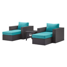 Convene 5 Piece Set Outdoor Patio with Fire Pit, Fabric Rattan Wicker, Blue, 17606