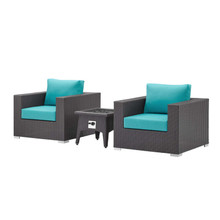 Convene 3 Piece Set Outdoor Patio with Fire Pit, Fabric Rattan Wicker, Blue, 17611