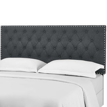 Helena Tufted Full / Queen Upholstered Linen Fabric Headboard, Fabric, Grey Gray, 17686