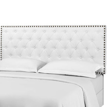 Helena Tufted Full / Queen Upholstered Linen Fabric Headboard, Fabric, White, 17688