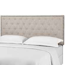Helena Tufted King and California King Upholstered Linen Fabric Headboard, Fabric, Beige, 17690